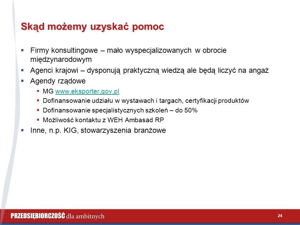 24 Skąd możemy uzyskać pomoc  Firmy konsultingowe – mało wyspecjalizowanych w obrocie międzynarodowym  Agenci krajowi – dysponują praktyczną wiedzą ale będą liczyć na angaż  Agendy rządowe  MG www.eksporter.gov.plwww.eksporter.gov.pl  Dofinansowanie udziału w wystawach i targach, certyfikacji produktów  Dofinansowanie specjalistycznych szkoleń – do 50%  Możliwość kontaktu z WEH Ambasad RP  Inne, n.p.
