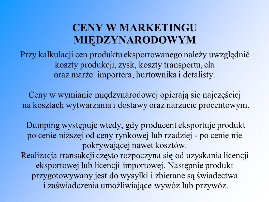 CENY W MARKETINGU MIĘDZYNARODOWYM Przy kalkulacji cen produktu eksportowanego należy uwzględnić koszty produkcji, zysk, koszty transportu, cła oraz marże: importera, hurtownika i detalisty.