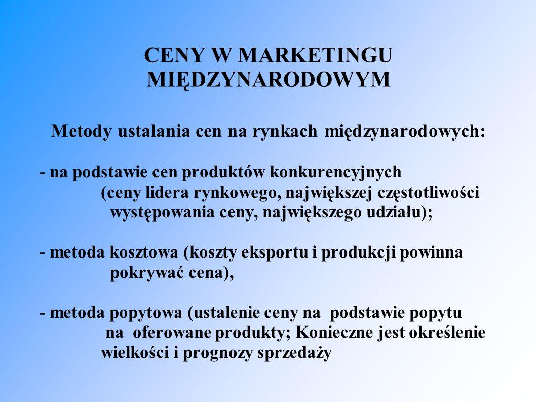 CENY W MARKETINGU MIĘDZYNARODOWYM Metody ustalania cen na rynkach międzynarodowych: - na podstawie cen produktów konkurencyjnych (ceny lidera rynkowego, największej częstotliwości występowania ceny, największego udziału); - metoda kosztowa (koszty eksportu i produkcji powinna pokrywać cena), - metoda popytowa (ustalenie ceny na podstawie popytu na oferowane produkty; Konieczne jest określenie wielkości i prognozy sprzedaży