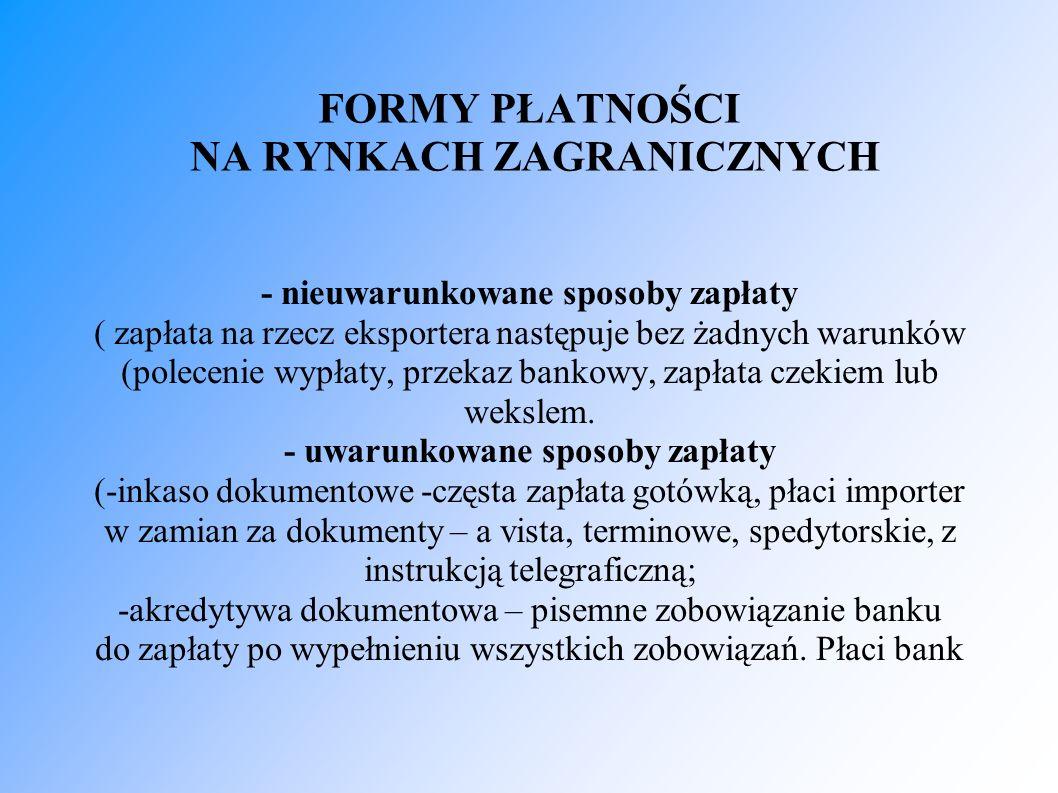 FORMY PŁATNOŚCI NA RYNKACH ZAGRANICZNYCH - nieuwarunkowane sposoby zapłaty ( zapłata na rzecz eksportera następuje bez żadnych warunków (polecenie wypłaty, przekaz bankowy, zapłata czekiem lub wekslem.