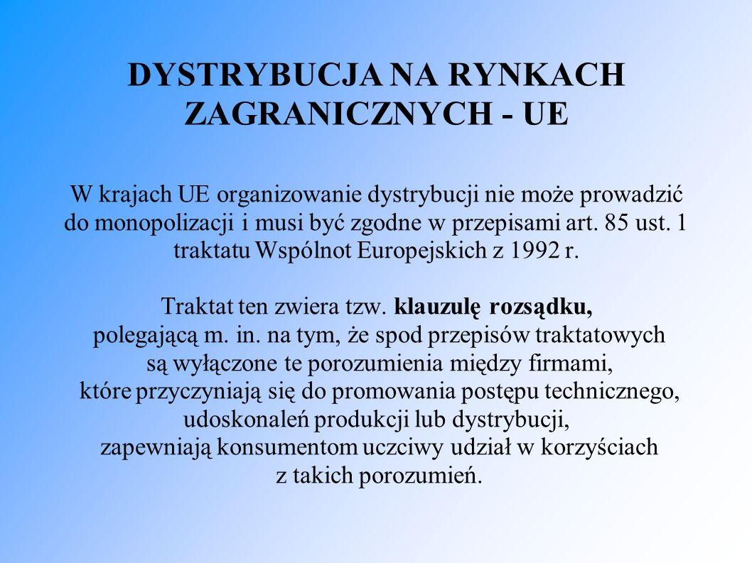 DYSTRYBUCJA NA RYNKACH ZAGRANICZNYCH - UE W krajach UE organizowanie dystrybucji nie może prowadzić do monopolizacji i musi być zgodne w przepisami art.