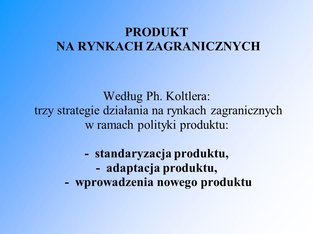 STANDARYZACJA PRODUKTU Przedsiębiorstwo wprowadza na rynek zagraniczny dotychczasowy produkt bez żadnych zmian.