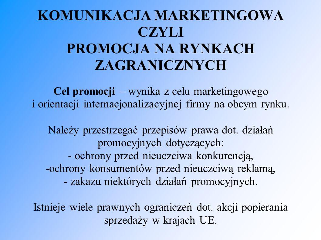 KOMUNIKACJA MARKETINGOWA CZYLI PROMOCJA NA RYNKACH ZAGRANICZNYCH Cel promocji – wynika z celu marketingowego i orientacji internacjonalizacyjnej firmy na obcym rynku.