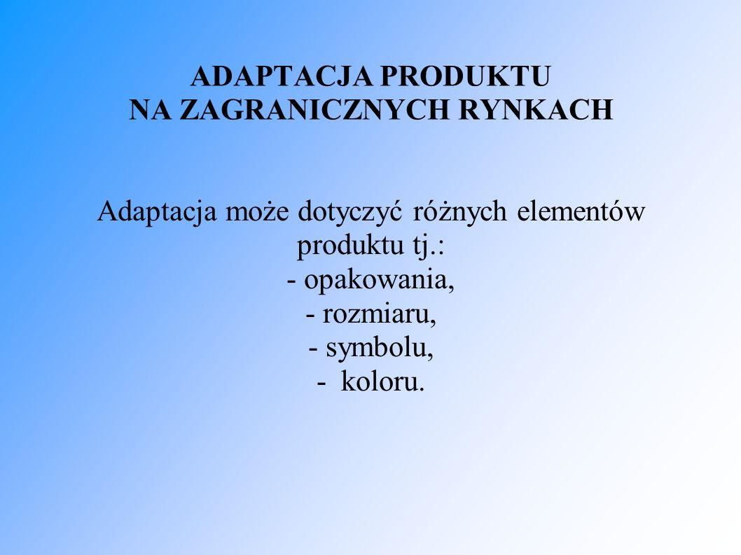 ADAPTACJA PRODUKTU NA ZAGRANICZNYCH RYNKACH Adaptacja może dotyczyć różnych elementów produktu tj.: - opakowania, - rozmiaru, - symbolu, - koloru.