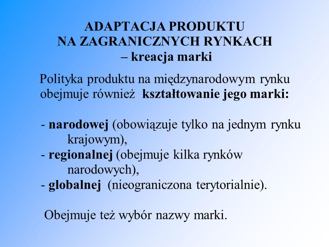 ADAPTACJA PRODUKTU NA ZAGRANICZNYCH RYNKACH – kreacja marki Polityka produktu na międzynarodowym rynku obejmuje również kształtowanie jego marki: - narodowej (obowiązuje tylko na jednym rynku krajowym), - regionalnej (obejmuje kilka rynków narodowych), - globalnej (nieograniczona terytorialnie).