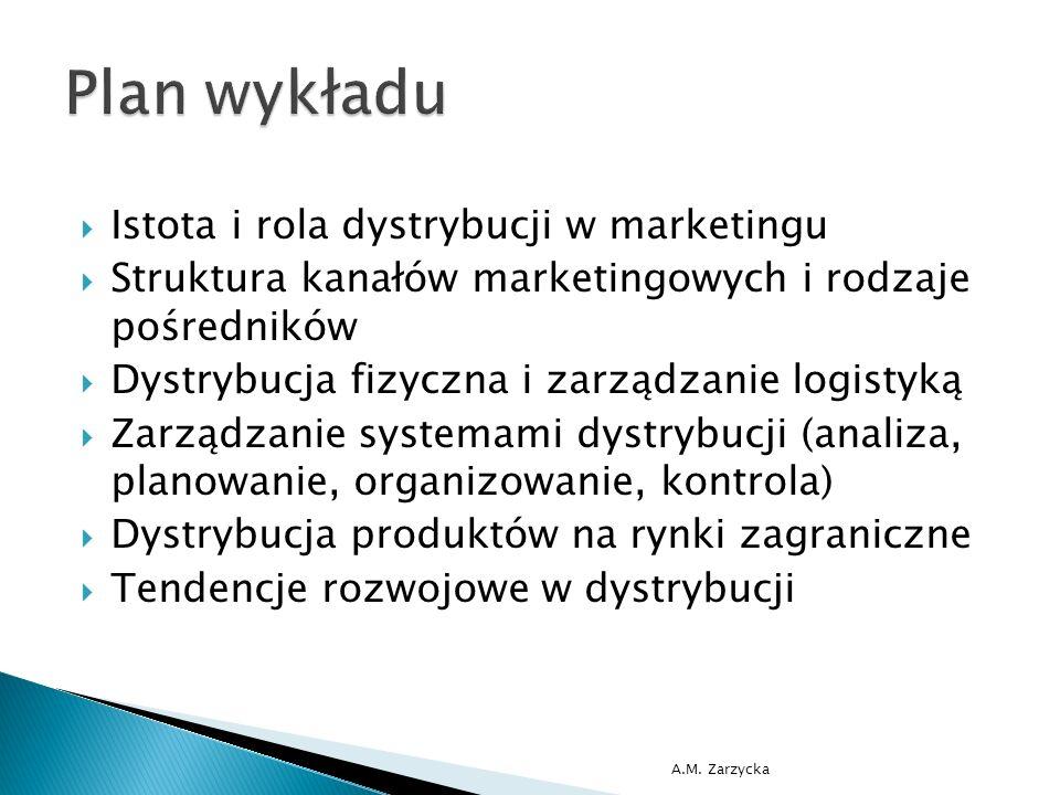  Istota i rola dystrybucji w marketingu  Struktura kanałów marketingowych i rodzaje pośredników  Dystrybucja fizyczna i zarządzanie logistyką  Zarządzanie systemami dystrybucji (analiza, planowanie, organizowanie, kontrola)  Dystrybucja produktów na rynki zagraniczne  Tendencje rozwojowe w dystrybucji A.M.