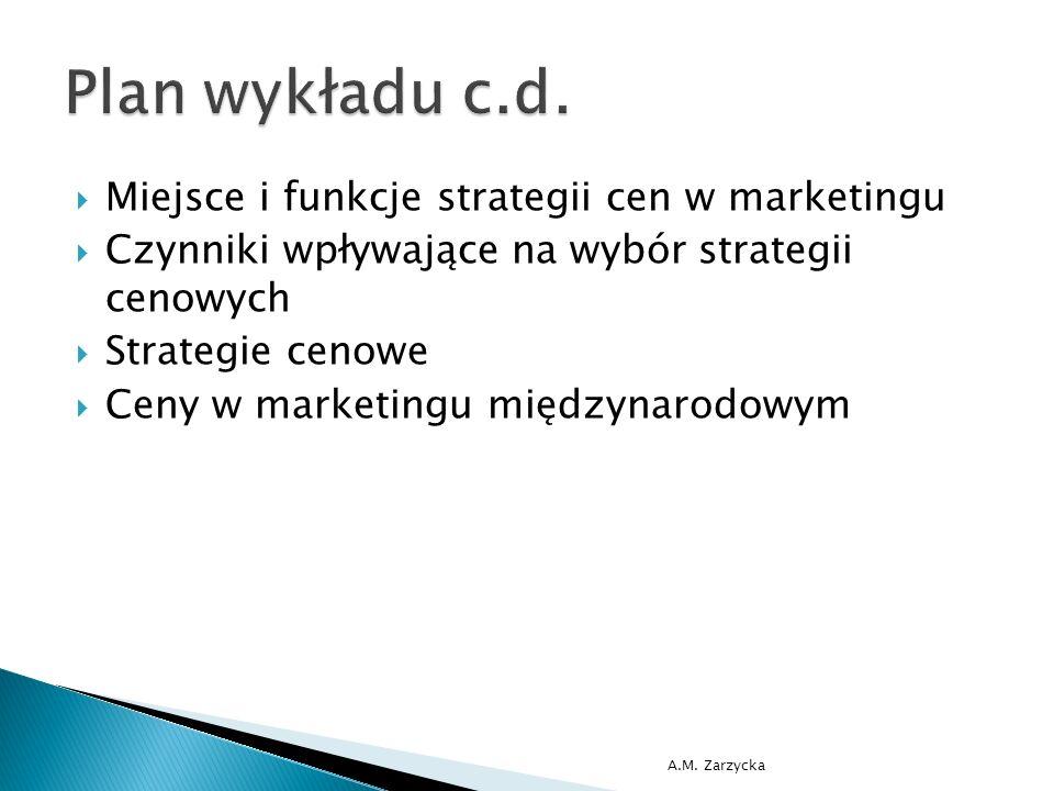  Miejsce i funkcje strategii cen w marketingu  Czynniki wpływające na wybór strategii cenowych  Strategie cenowe  Ceny w marketingu międzynarodowym A.M.