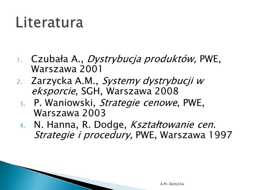 1. Czubała A., Dystrybucja produktów, PWE, Warszawa 2001 2.
