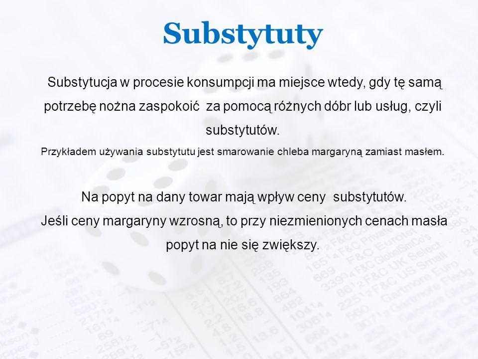 Substytuty Substytucja w procesie konsumpcji ma miejsce wtedy, gdy tę samą potrzebę nożna zaspokoić za pomocą różnych dóbr lub usług, czyli substytutów.