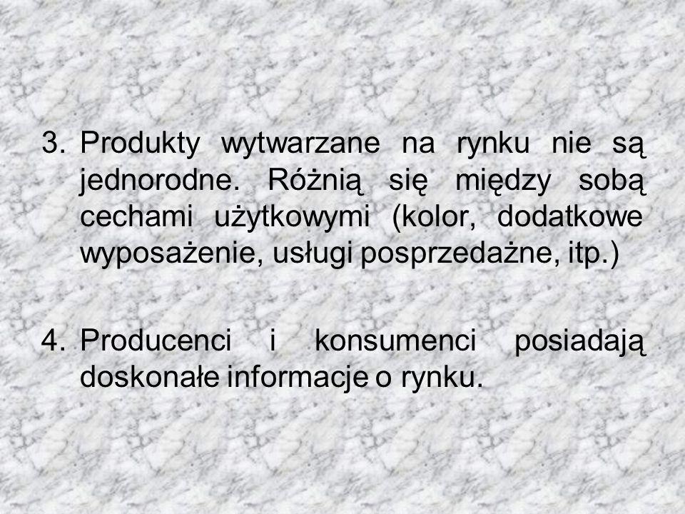 3.Produkty wytwarzane na rynku nie są jednorodne.