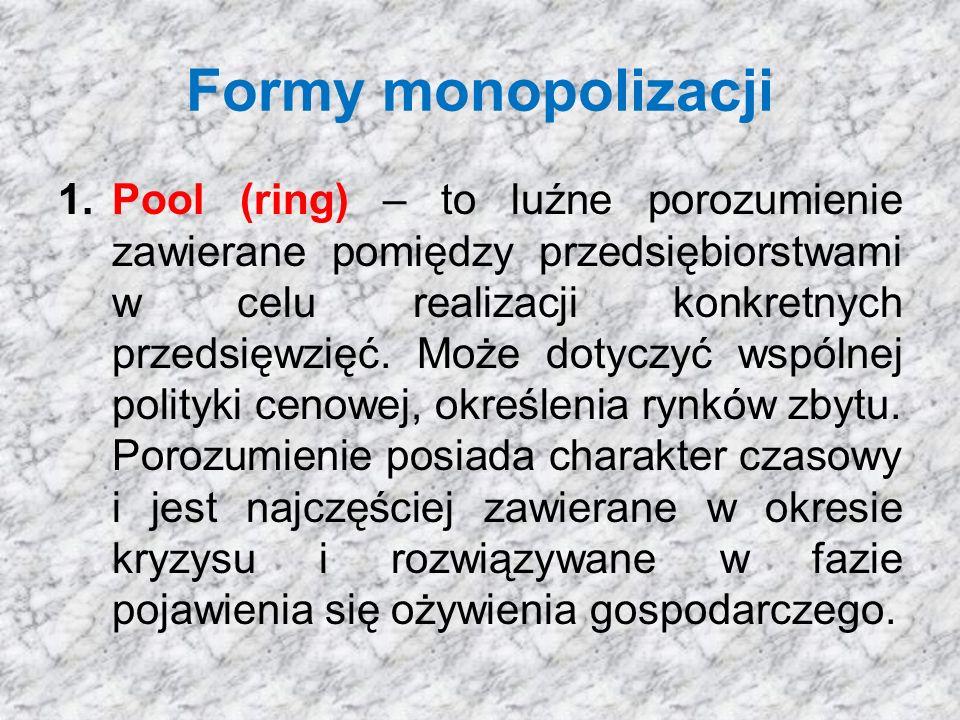 Formy monopolizacji 1.Pool (ring) – to luźne porozumienie zawierane pomiędzy przedsiębiorstwami w celu realizacji konkretnych przedsięwzięć.