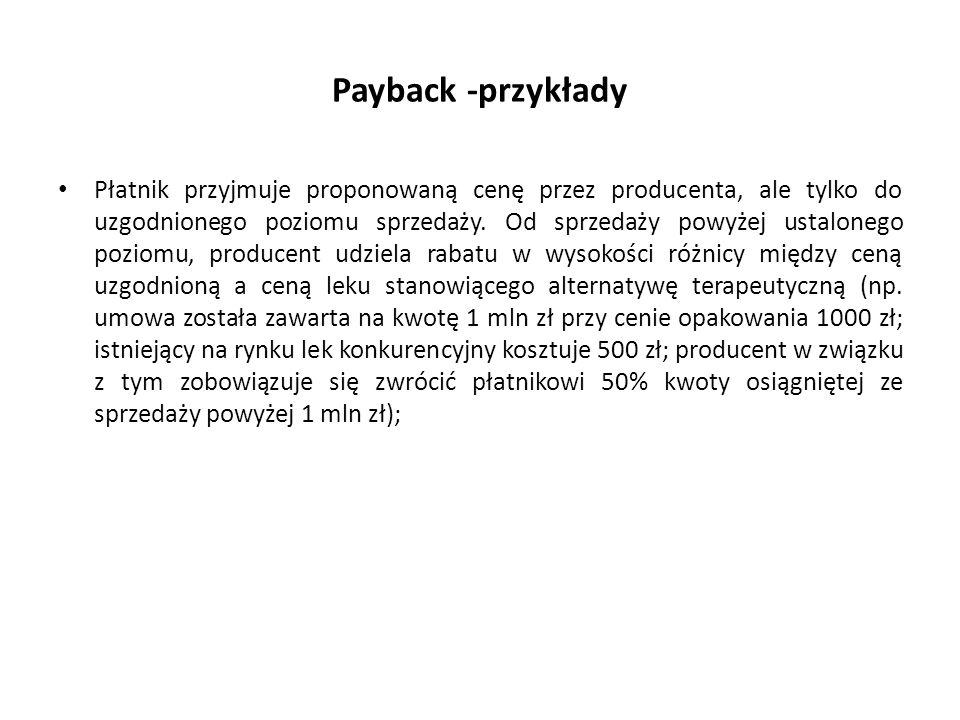 Payback -przykłady Płatnik przyjmuje proponowaną cenę przez producenta, ale tylko do uzgodnionego poziomu sprzedaży. Od sprzedaży powyżej ustalonego p