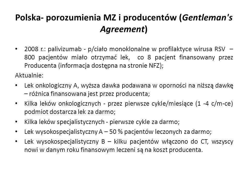 Polska- porozumienia MZ i producentów (Gentleman s Agreement) 2008 r.: palivizumab - p/ciało monoklonalne w profilaktyce wirusa RSV – 800 pacjentów miało otrzymać lek, co 8 pacjent finansowany przez Producenta (informacja dostępna na stronie NFZ); Aktualnie: Lek onkologiczny A, wyższa dawka podawana w oporności na niższą dawkę – różnica finansowana jest przez producenta; Kilka leków onkologicznych - przez pierwsze cykle/miesiące (1 -4 c/m-ce) podmiot dostarcza lek za darmo; Kilka leków specjalistycznych - pierwsze cykle za darmo; Lek wysokospecjalistyczny A – 50 % pacjentów leczonych za darmo; Lek wysokospecjalistyczny B – kilku pacjentów włączono do CT, wszyscy nowi w danym roku finansowym leczeni są na koszt producenta.