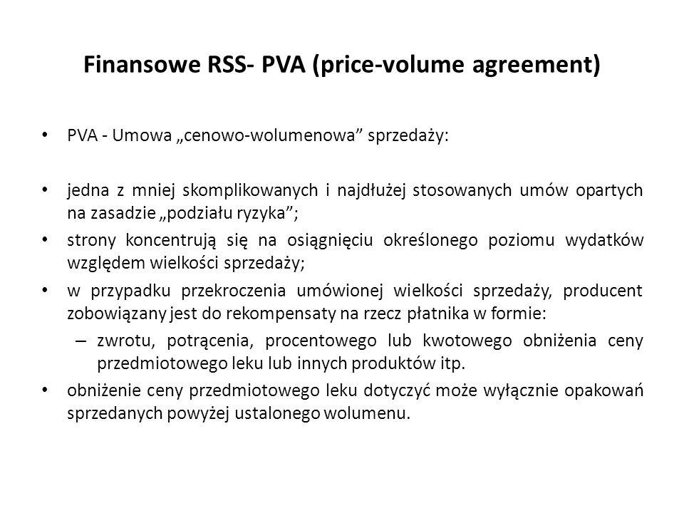 """Finansowe RSS- PVA (price-volume agreement) PVA - Umowa """"cenowo-wolumenowa sprzedaży: jedna z mniej skomplikowanych i najdłużej stosowanych umów opartych na zasadzie """"podziału ryzyka ; strony koncentrują się na osiągnięciu określonego poziomu wydatków względem wielkości sprzedaży; w przypadku przekroczenia umówionej wielkości sprzedaży, producent zobowiązany jest do rekompensaty na rzecz płatnika w formie: – zwrotu, potrącenia, procentowego lub kwotowego obniżenia ceny przedmiotowego leku lub innych produktów itp."""