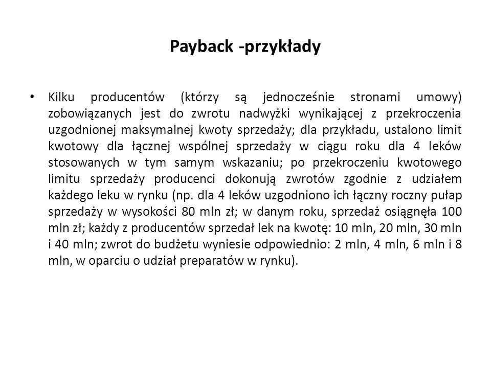 Payback -przykłady Kilku producentów (którzy są jednocześnie stronami umowy) zobowiązanych jest do zwrotu nadwyżki wynikającej z przekroczenia uzgodni