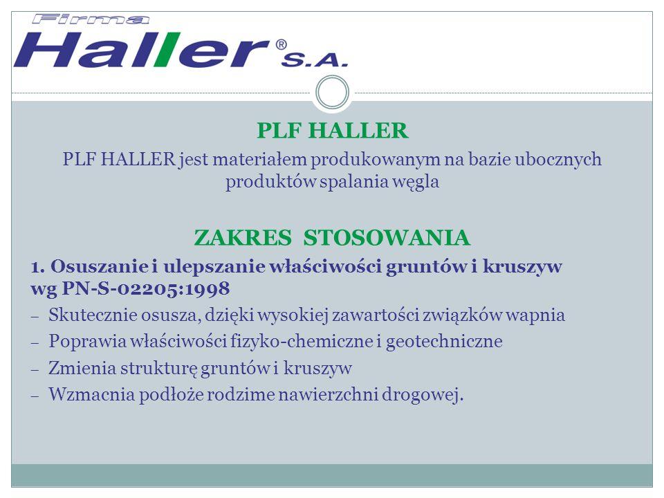 PLF HALLER PLF HALLER jest materiałem produkowanym na bazie ubocznych produktów spalania węgla ZAKRES STOSOWANIA 1.