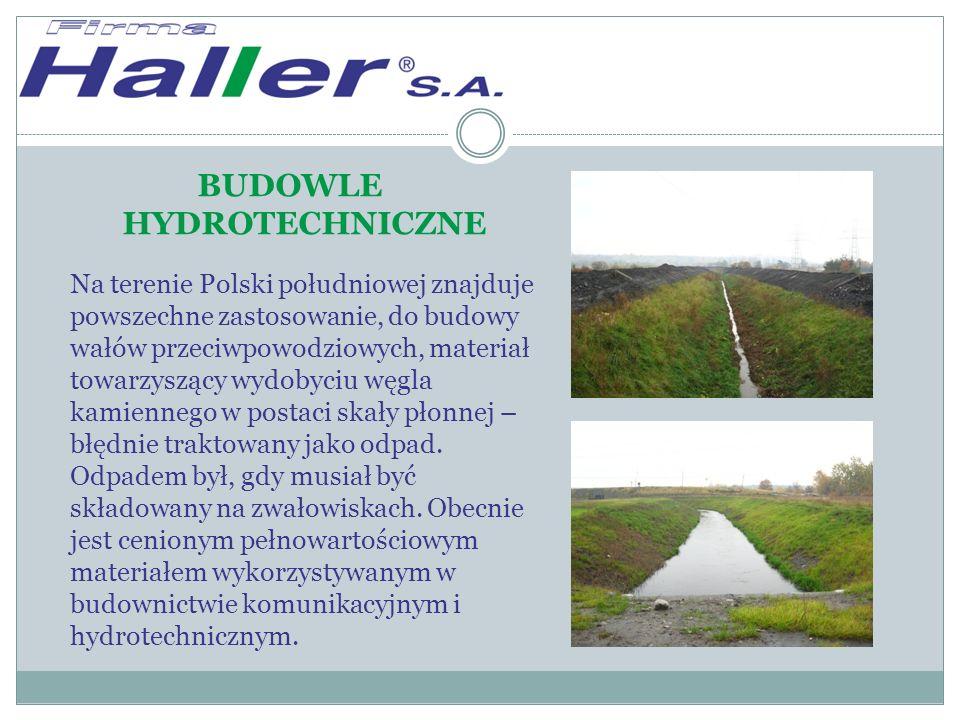 BUDOWLE HYDROTECHNICZNE Na terenie Polski południowej znajduje powszechne zastosowanie, do budowy wałów przeciwpowodziowych, materiał towarzyszący wydobyciu węgla kamiennego w postaci skały płonnej – błędnie traktowany jako odpad.
