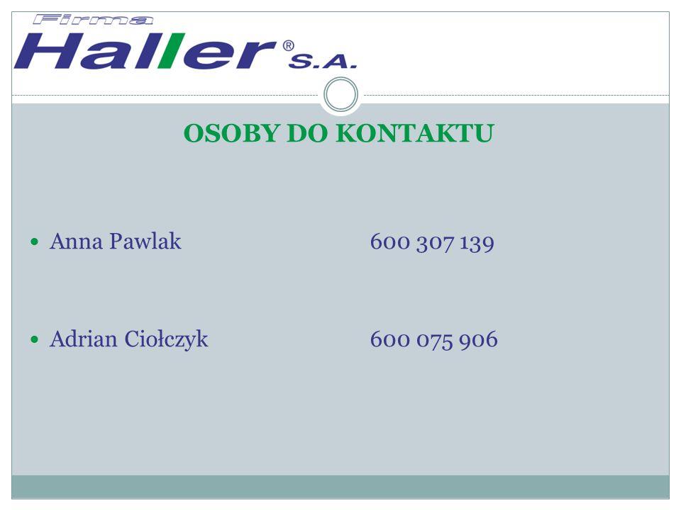 OSOBY DO KONTAKTU Anna Pawlak600 307 139 Adrian Ciołczyk600 075 906
