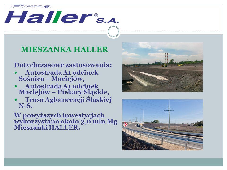 MIESZANKA HALLER Dotychczasowe zastosowania: Autostrada A1 odcinek Sośnica – Maciejów, Autostrada A1 odcinek Maciejów – Piekary Śląskie, Trasa Aglomeracji Śląskiej N-S.