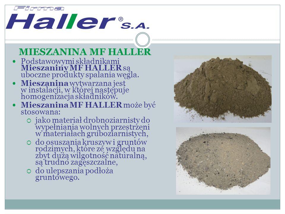 MIESZANINA MF HALLER Podstawowymi składnikami Mieszaniny MF HALLER są uboczne produkty spalania węgla.