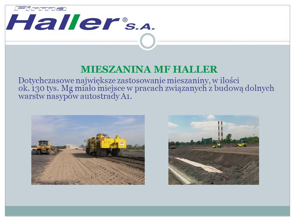 MIESZANINA MF HALLER Dotychczasowe największe zastosowanie mieszaniny, w ilości ok.