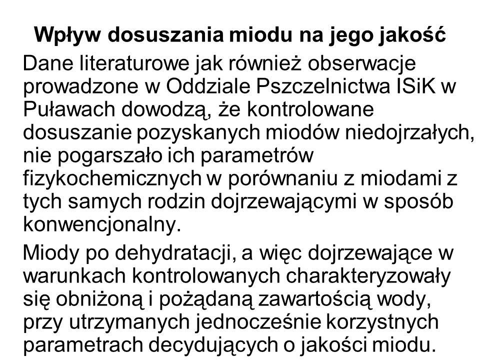 Wpływ dosuszania miodu na jego jakość Dane literaturowe jak również obserwacje prowadzone w Oddziale Pszczelnictwa ISiK w Puławach dowodzą, że kontrol