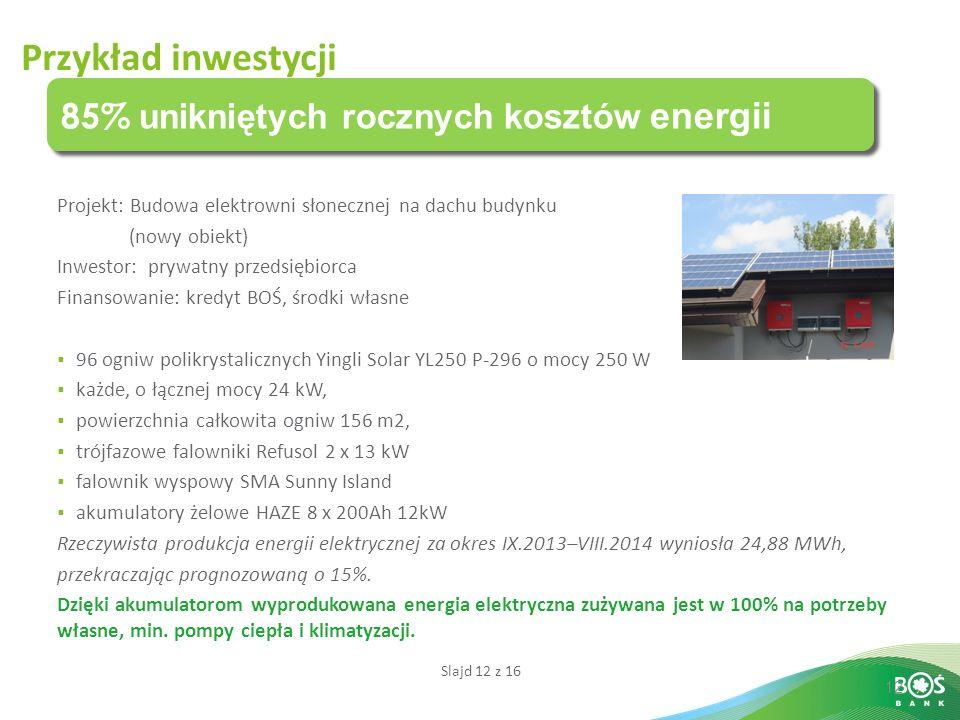 Slajd 12 z 16 12 85% unikniętych rocznych kosztów energii Przykład inwestycji Projekt: Budowa elektrowni słonecznej na dachu budynku (nowy obiekt) Inwestor: prywatny przedsiębiorca Finansowanie: kredyt BOŚ, środki własne  96 ogniw polikrystalicznych Yingli Solar YL250 P-296 o mocy 250 W  każde, o łącznej mocy 24 kW,  powierzchnia całkowita ogniw 156 m2,  trójfazowe falowniki Refusol 2 x 13 kW  falownik wyspowy SMA Sunny Island  akumulatory żelowe HAZE 8 x 200Ah 12kW Rzeczywista produkcja energii elektrycznej za okres IX.2013–VIII.2014 wyniosła 24,88 MWh, przekraczając prognozowaną o 15%.