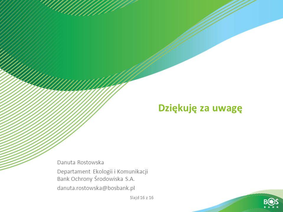 Slajd 16 z 16 Dziękuję za uwagę Danuta Rostowska Departament Ekologii i Komunikacji Bank Ochrony Środowiska S.A. danuta.rostowska@bosbank.pl