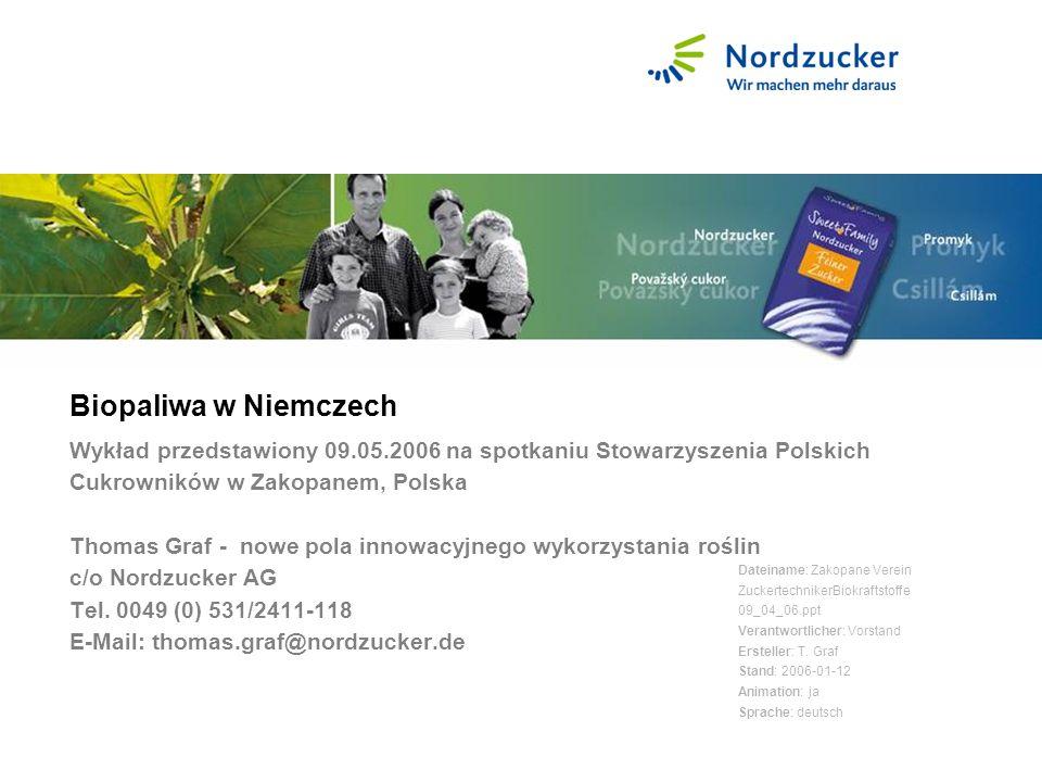 Biopaliwa w Niemczech Wykład przedstawiony 09.05.2006 na spotkaniu Stowarzyszenia Polskich Cukrowników w Zakopanem, Polska Thomas Graf - nowe pola innowacyjnego wykorzystania roślin c/o Nordzucker AG Tel.