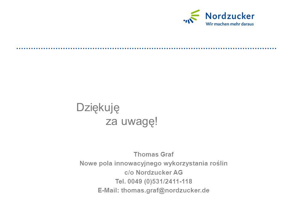Dziękuję za uwagę. Thomas Graf Nowe pola innowacyjnego wykorzystania roślin c/o Nordzucker AG Tel.