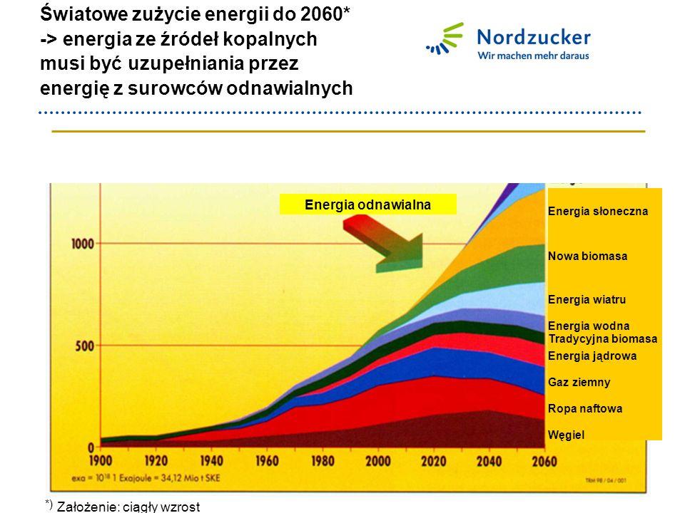 Światowe zużycie energii do 2060* -> energia ze źródeł kopalnych musi być uzupełniania przez energię z surowców odnawialnych *) Szenario: nachhaltiges Wachstum Energia odnawialna Założenie: ciągły wzrost Energia słoneczna Nowa biomasa Energia wiatru Energia wodna Tradycyjna biomasa Energia jądrowa Gaz ziemny Ropa naftowa Węgiel