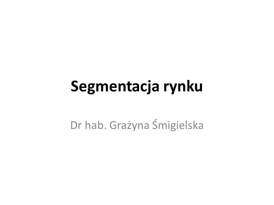 Segmentacja rynku Dr hab. Grażyna Śmigielska