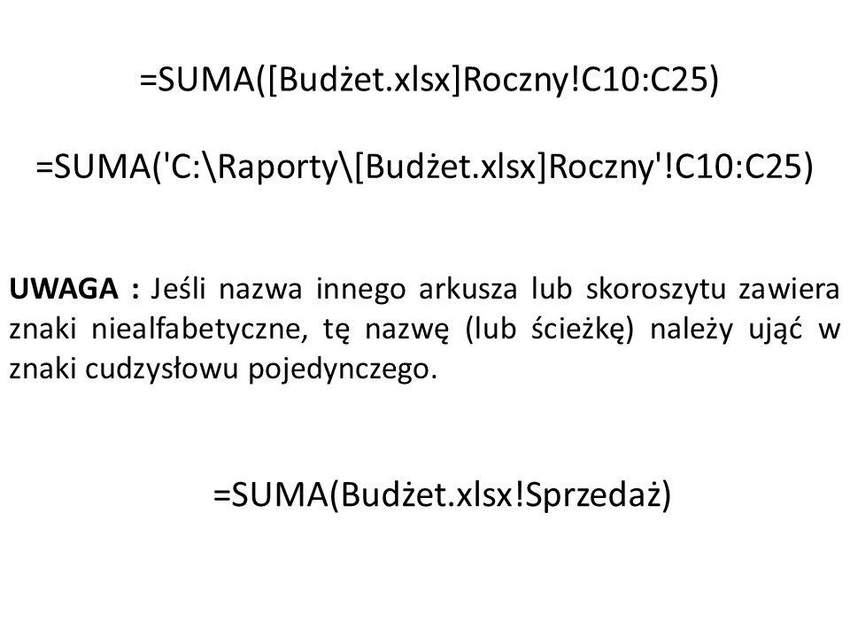 Suma.jeżeli Suma Pobory jeśli większe, niż 3000 Suma Premia, jeśli pobory większe, niż 3000 SUMA.WARUNKÓW(suma_zakres; kryteria_zakres1; kryteria1, [kryteria_zakres2; kryteria2...]…)