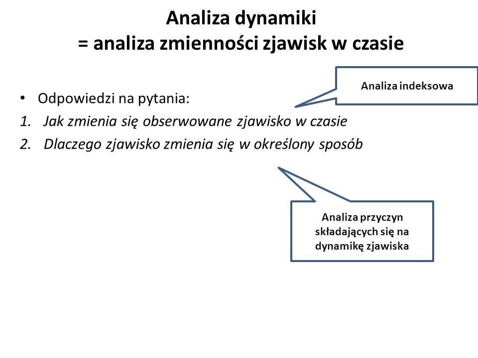 Analiza dynamiki = analiza zmienności zjawisk w czasie Odpowiedzi na pytania: 1.Jak zmienia się obserwowane zjawisko w czasie 2.Dlaczego zjawisko zmienia się w określony sposób Analiza przyczyn składających się na dynamikę zjawiska Analiza indeksowa