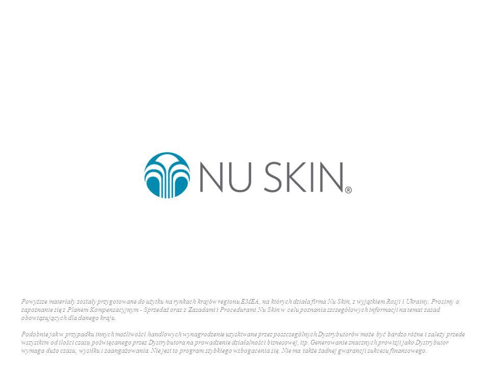 Powyższe materiały zostały przygotowane do użytku na rynkach krajów regionu EMEA, na których działa firma Nu Skin, z wyjątkiem Rosji i Ukrainy. Prosim