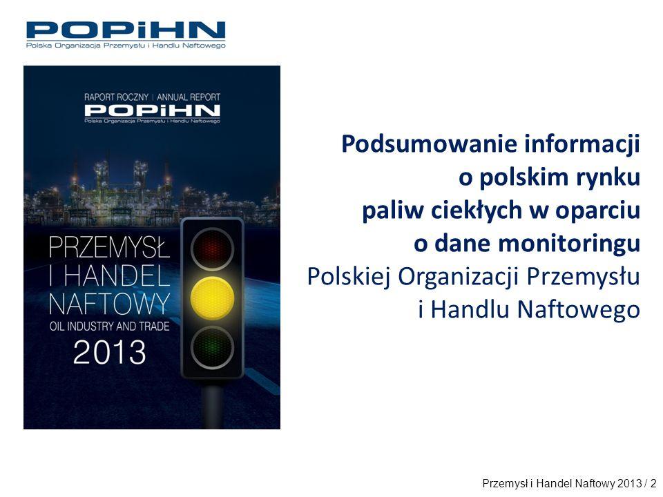 Podsumowanie informacji o polskim rynku paliw ciekłych w oparciu o dane monitoringu Polskiej Organizacji Przemysłu i Handlu Naftowego Przemysł i Handel Naftowy 2013 / 2