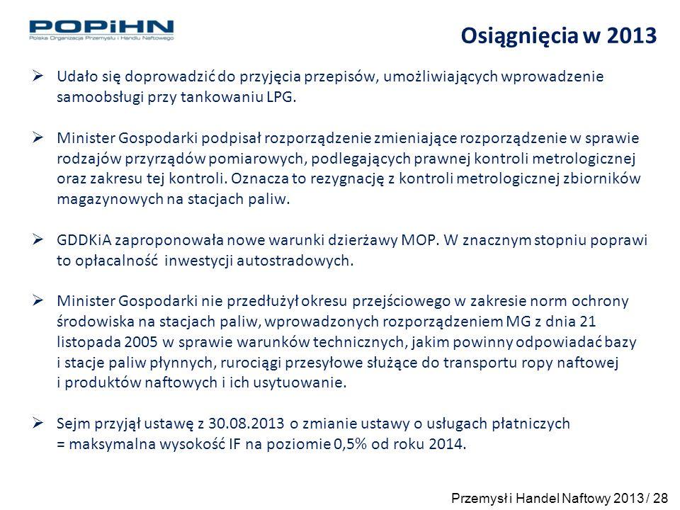 Osiągnięcia w 2013  Udało się doprowadzić do przyjęcia przepisów, umożliwiających wprowadzenie samoobsługi przy tankowaniu LPG.