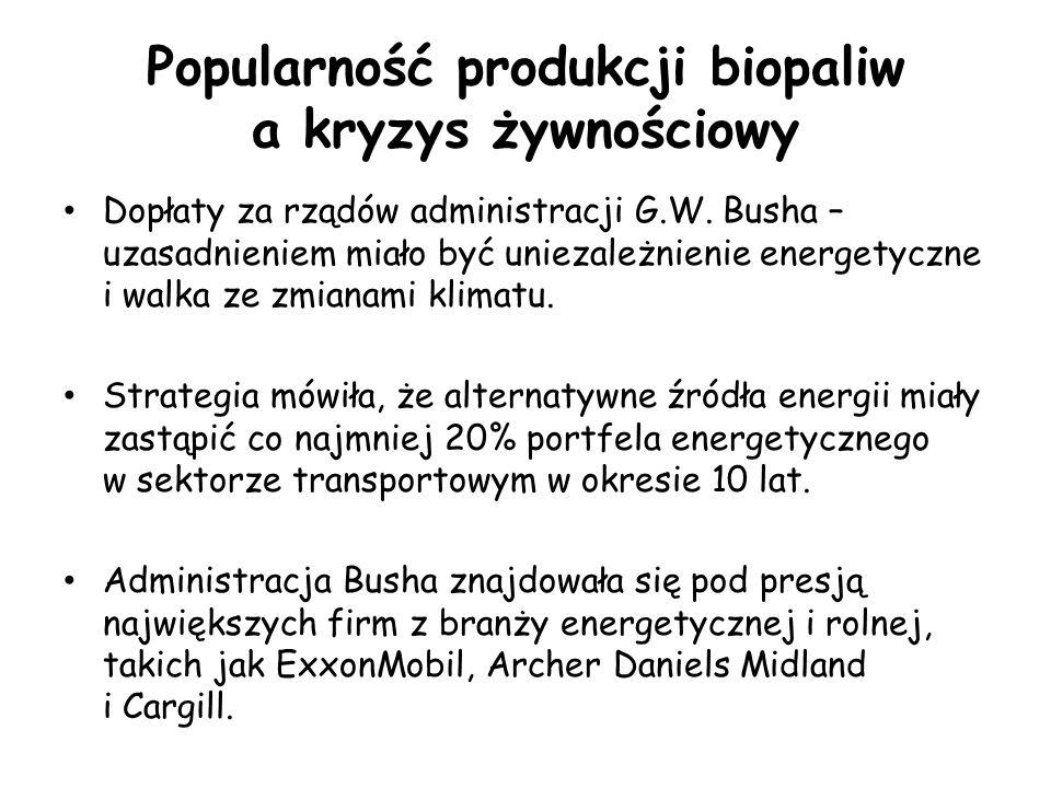 Popularność produkcji biopaliw a kryzys żywnościowy Dopłaty za rządów administracji G.W.