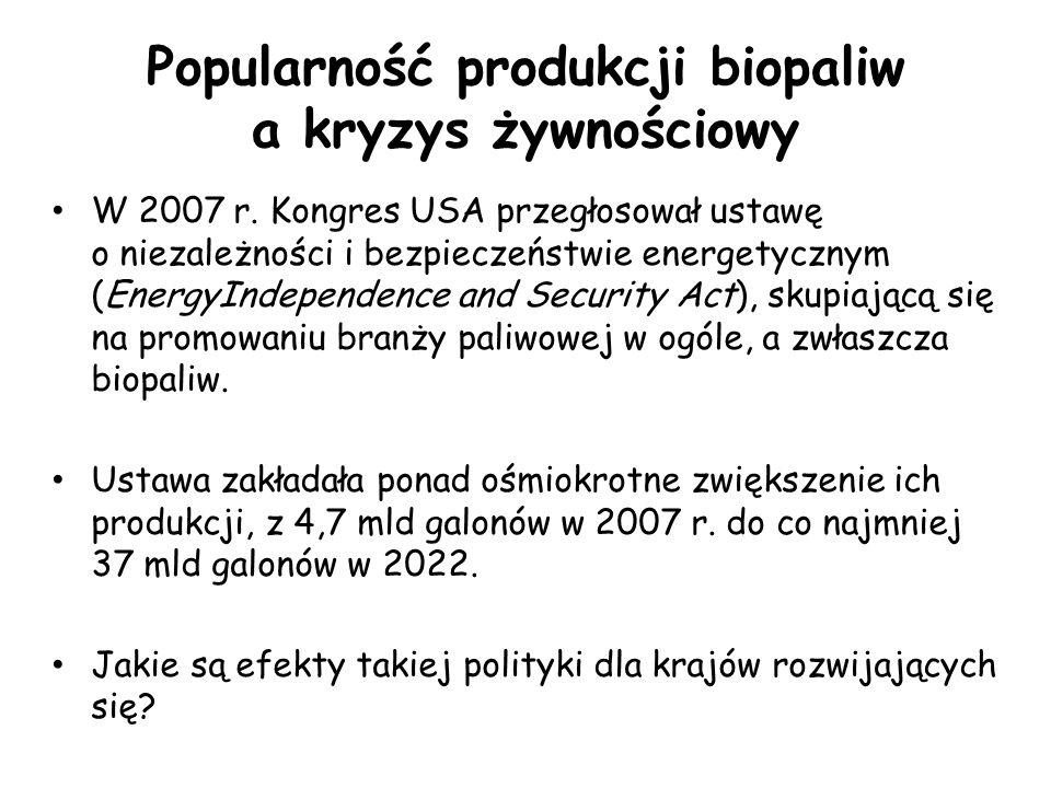 Popularność produkcji biopaliw a kryzys żywnościowy W 2007 r.