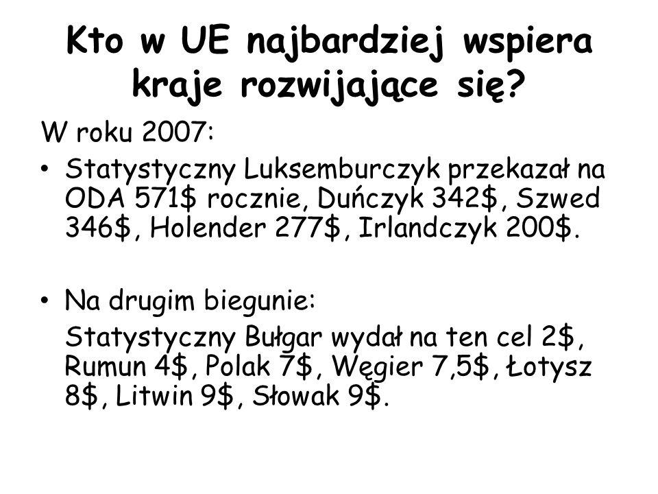 Kto w UE najbardziej wspiera kraje rozwijające się? W roku 2007: Statystyczny Luksemburczyk przekazał na ODA 571$ rocznie, Duńczyk 342$, Szwed 346$, H