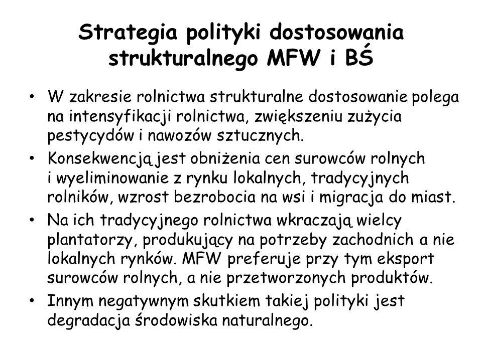 Strategia polityki dostosowania strukturalnego MFW i BŚ W zakresie rolnictwa strukturalne dostosowanie polega na intensyfikacji rolnictwa, zwiększeniu zużycia pestycydów i nawozów sztucznych.