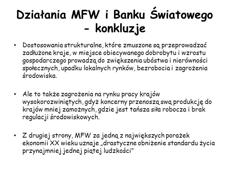 Działania MFW i Banku Światowego - konkluzje Dostosowania strukturalne, które zmuszone są przeprowadzać zadłużone kraje, w miejsce obiecywanego dobrob
