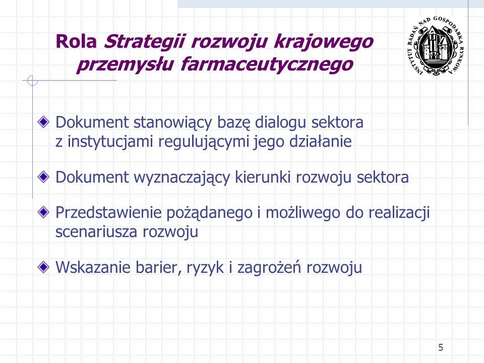 Rola Strategii rozwoju krajowego przemysłu farmaceutycznego Dokument stanowiący bazę dialogu sektora z instytucjami regulującymi jego działanie Dokume
