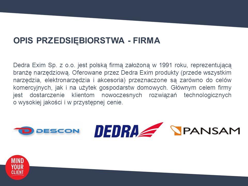 OPIS PRZEDSIĘBIORSTWA - PRODUKTY Dedra Exim od kilkunastu lat zajmuje się popularyzują na polskim rynku zaawansowanych i innowacyjnych produktów (narzędzi) pod główną marką własną – Dedra.