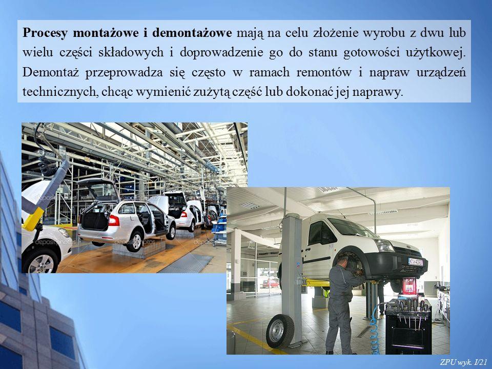 ZPU wyk. I/21 Procesy montażowe i demontażowe mają na celu złożenie wyrobu z dwu lub wielu części składowych i doprowadzenie go do stanu gotowości uży