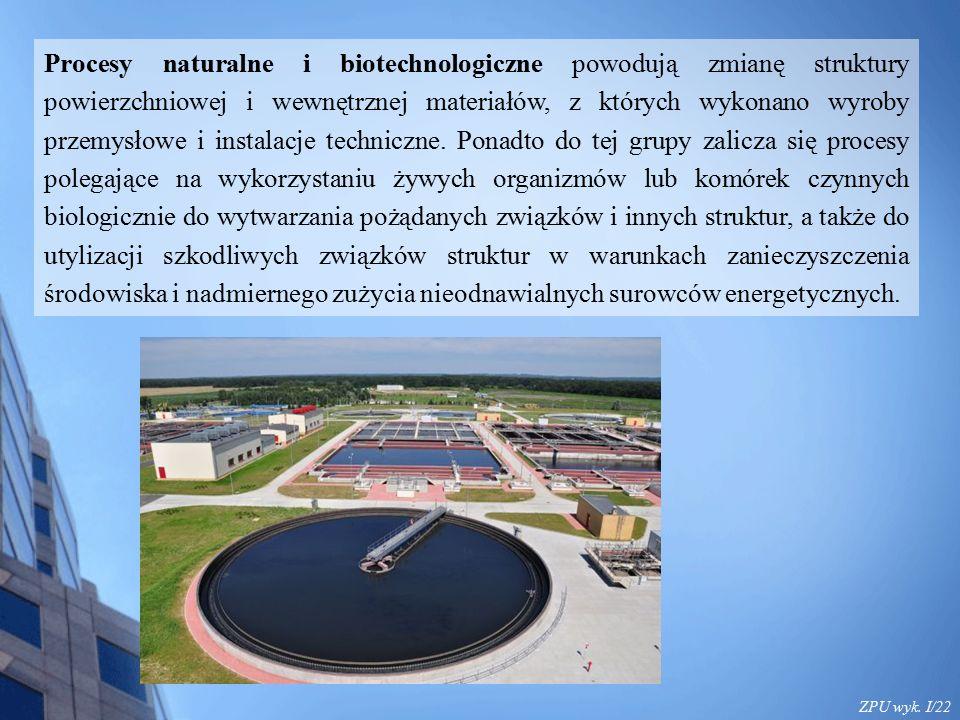 ZPU wyk. I/22 Procesy naturalne i biotechnologiczne powodują zmianę struktury powierzchniowej i wewnętrznej materiałów, z których wykonano wyroby prze