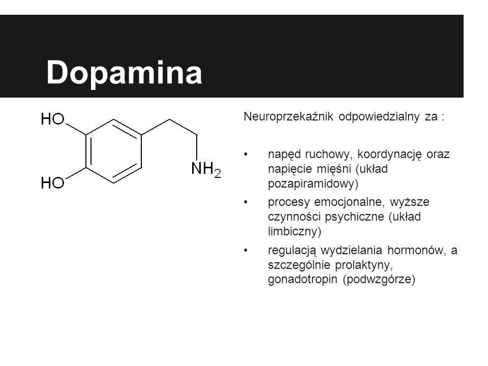 Dopamina Neuroprzekaźnik odpowiedzialny za : napęd ruchowy, koordynację oraz napięcie mięśni (układ pozapiramidowy) procesy emocjonalne, wyższe czynności psychiczne (układ limbiczny) regulacją wydzielania hormonów, a szczególnie prolaktyny, gonadotropin (podwzgórze)