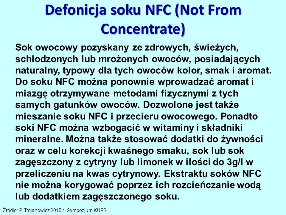 Defonicja soku NFC (Not From Concentrate) Sok owocowy pozyskany ze zdrowych, świeżych, schłodzonych lub mrożonych owoców, posiadających naturalny, typowy dla tych owoców kolor, smak i aromat.