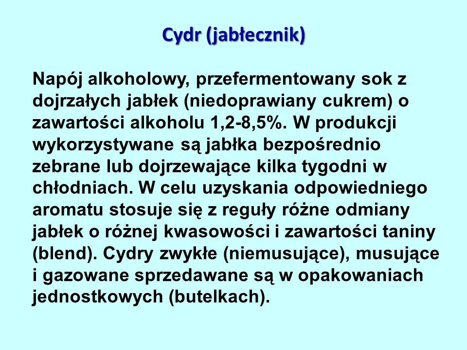 Cydr (jabłecznik) Napój alkoholowy, przefermentowany sok z dojrzałych jabłek (niedoprawiany cukrem) o zawartości alkoholu 1,2-8,5%.