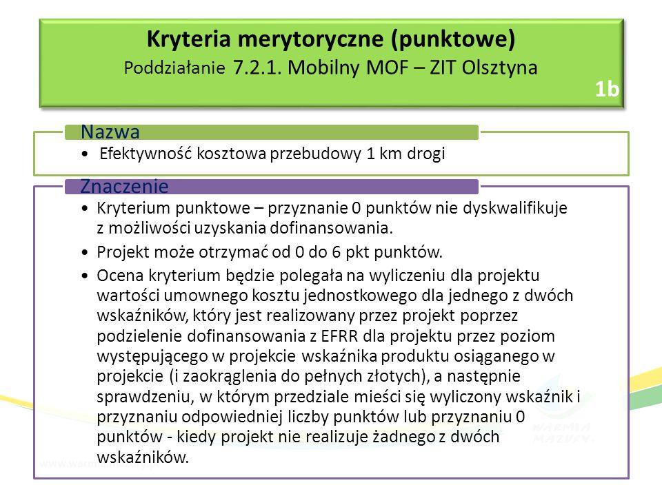 Efektywność kosztowa przebudowy 1 km drogi Nazwa Kryterium punktowe – przyznanie 0 punktów nie dyskwalifikuje z możliwości uzyskania dofinansowania.